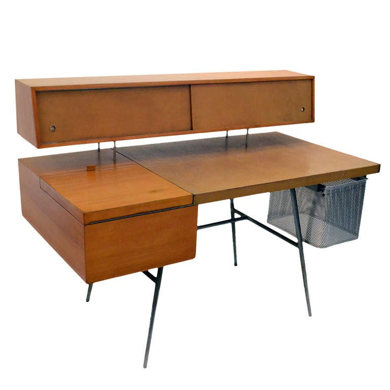 Beau George Nelson Wood And Leather Office Desk For Herman Miller, USA, 1948