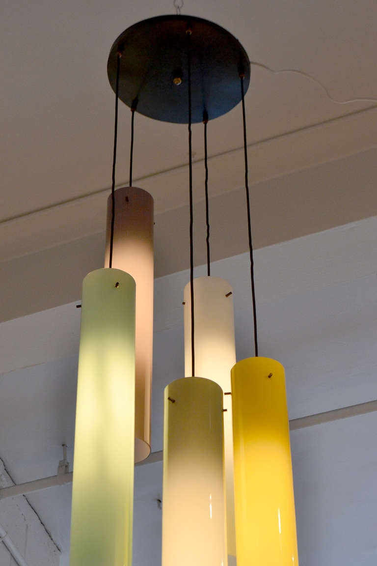 Murano Five Cylindrical Glass Shade Fixture, Italy, 1950s 4
