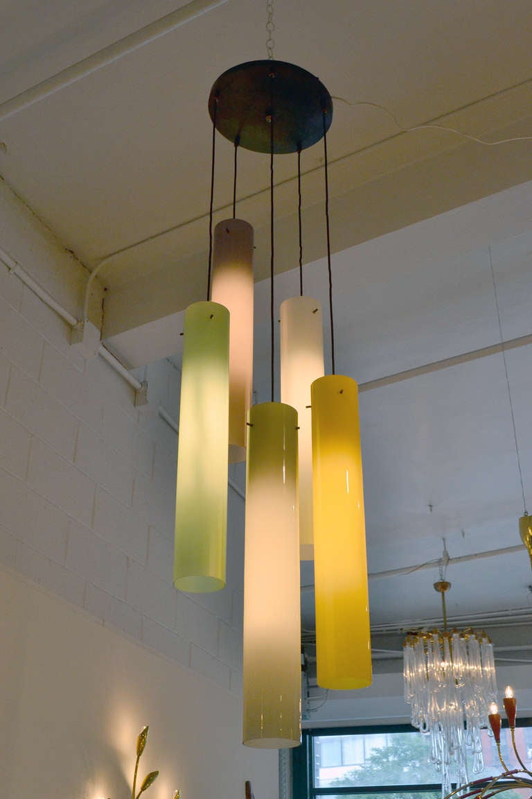 Murano Five Cylindrical Glass Shade Fixture, Italy, 1950s 2