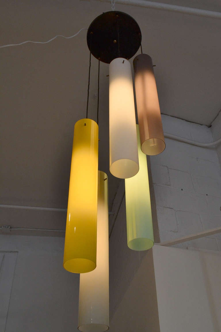 Mid-Century Modern Murano Five Cylindrical Glass Shade Fixture, Italy, 1950s For Sale