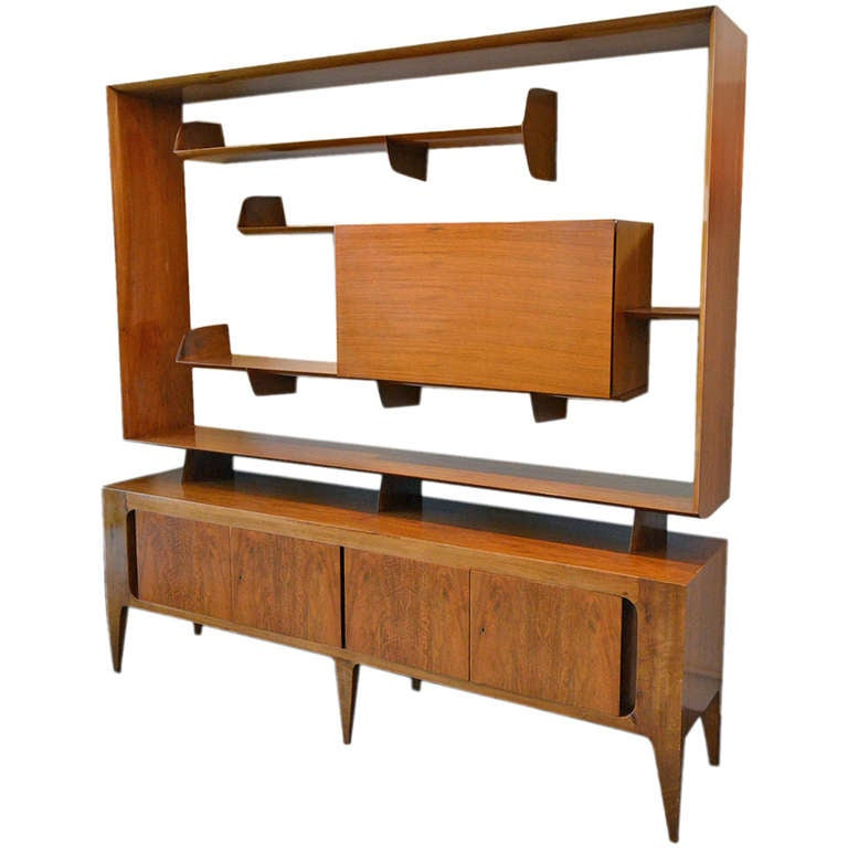outstanding gio ponti sideboard with bar by singer and sons at 1stdibs. Black Bedroom Furniture Sets. Home Design Ideas