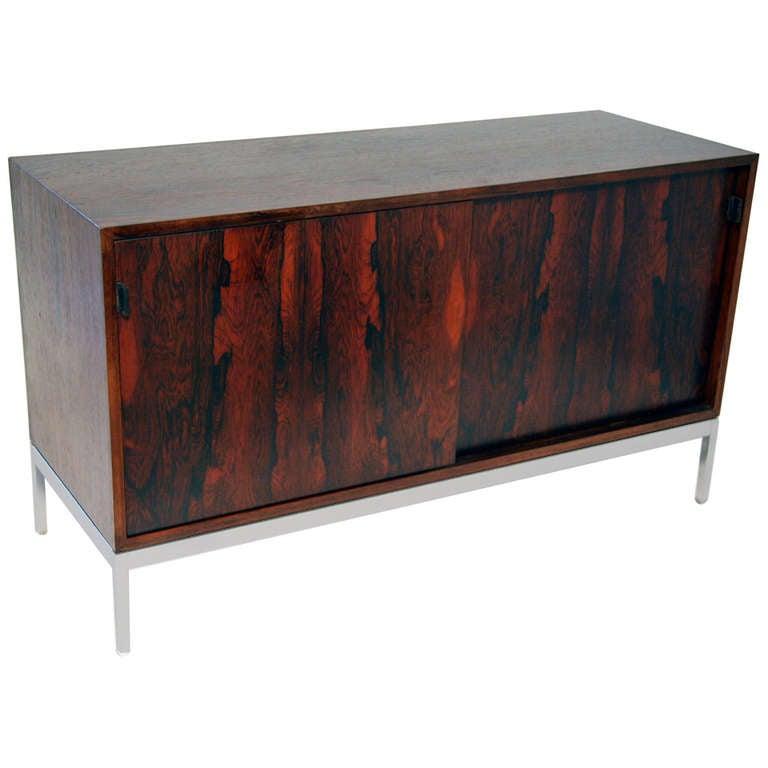 florence knoll rosewood sliding door credenza at 1stdibs. Black Bedroom Furniture Sets. Home Design Ideas