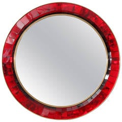 Mirror with Red Hand Cut Crystal Glass by Ghiro