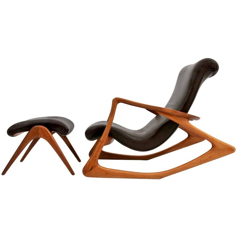 Vladimir Kagan Two Position Contour Rocking Chair And Foot