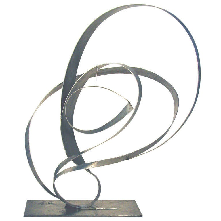 Beverly Pepper Abstract Stainless Steel Sculpture, USA 1970s For Sale