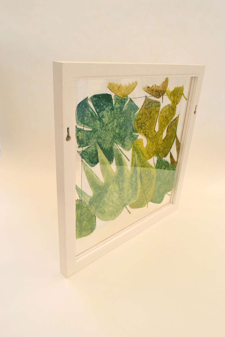 An incredibly rare sketch of leaves by Gio Ponti. Most likely this was made as a sample representation for a larger decorative landscape and believed to be used as a translucent partition. Ponti designed many interiors on a grand scale. He