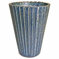Arne Bang Fluted Stoneware Vase Glazed  in Matte Speckled Blue