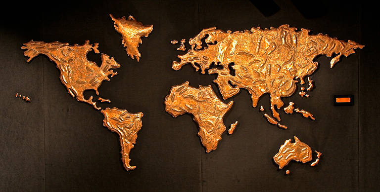 This is an extraordinary and unique map of the world salvaged from the Sabena airlines terminal check in counter at JFK airport. It was created by Chilean artist Patricio Caces in 1972.