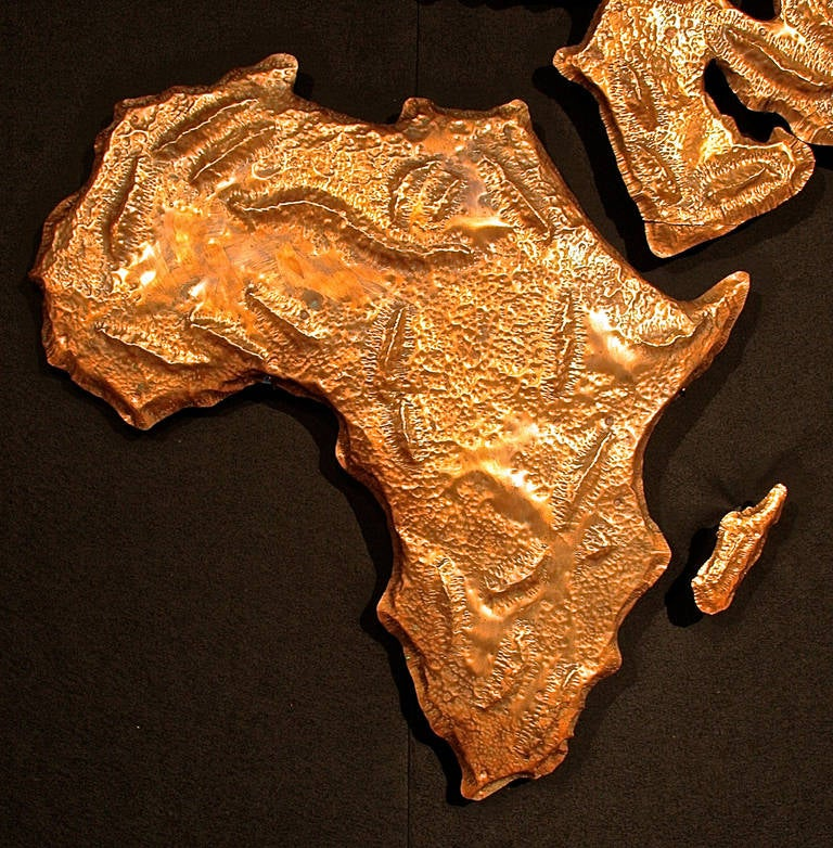 Late 20th Century Repoussé Map from JFK Airline Terminal by Patricio Caces, 1972 For Sale