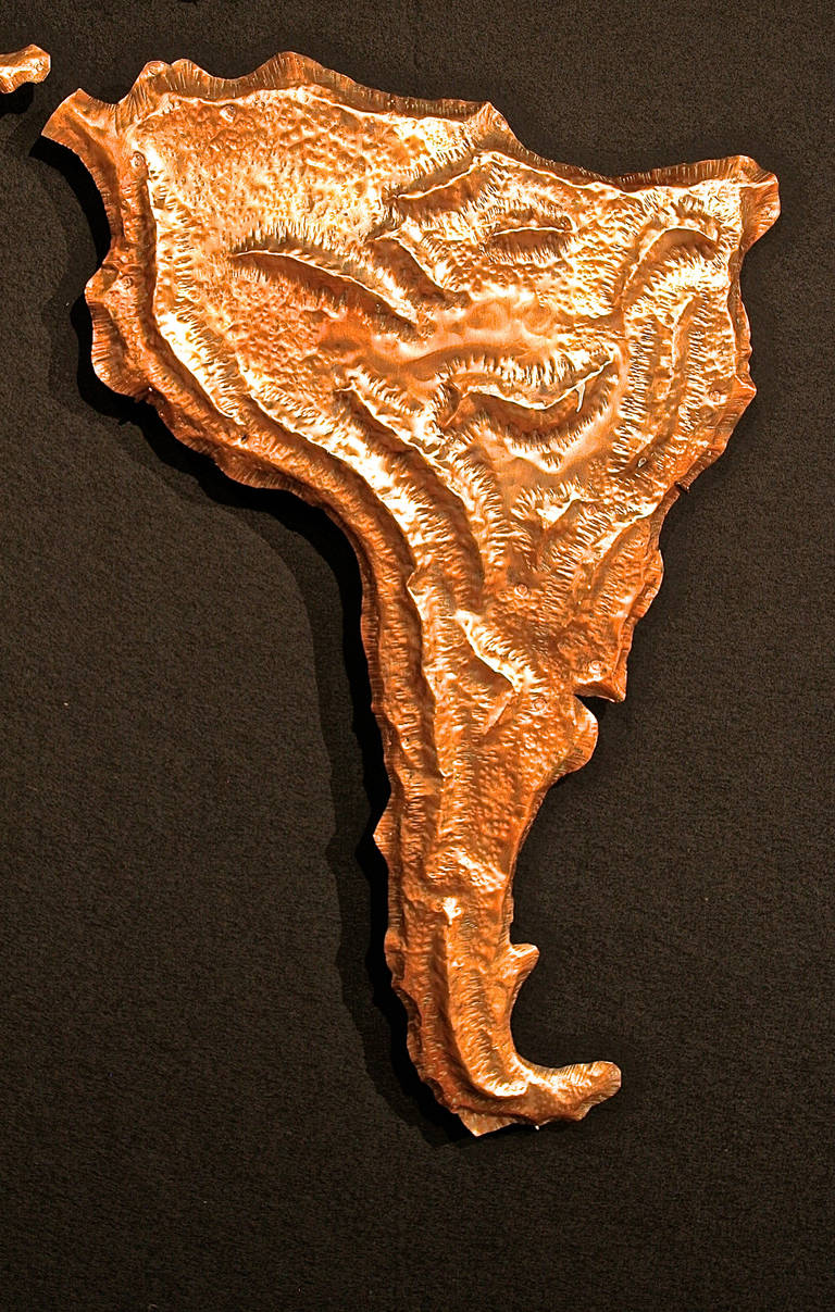 Copper Repoussé Map from JFK Airline Terminal by Patricio Caces, 1972 For Sale