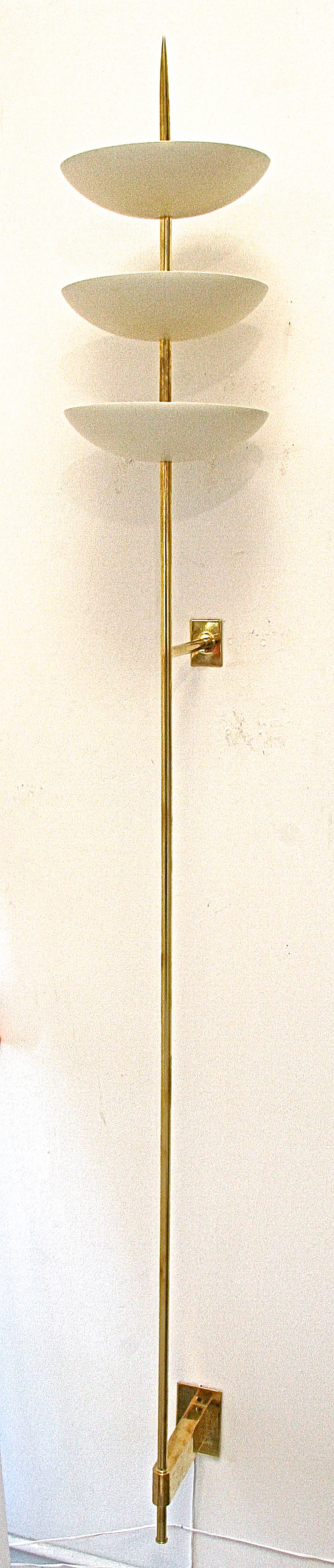 Tall Metal Wall Sconces : Large Brass and White Metal Bowl Wall Sconces in the Style of Stilnovo at 1stdibs