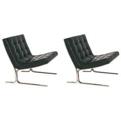 Pair of Nicos Zographos Black Leather Lounge Chairs