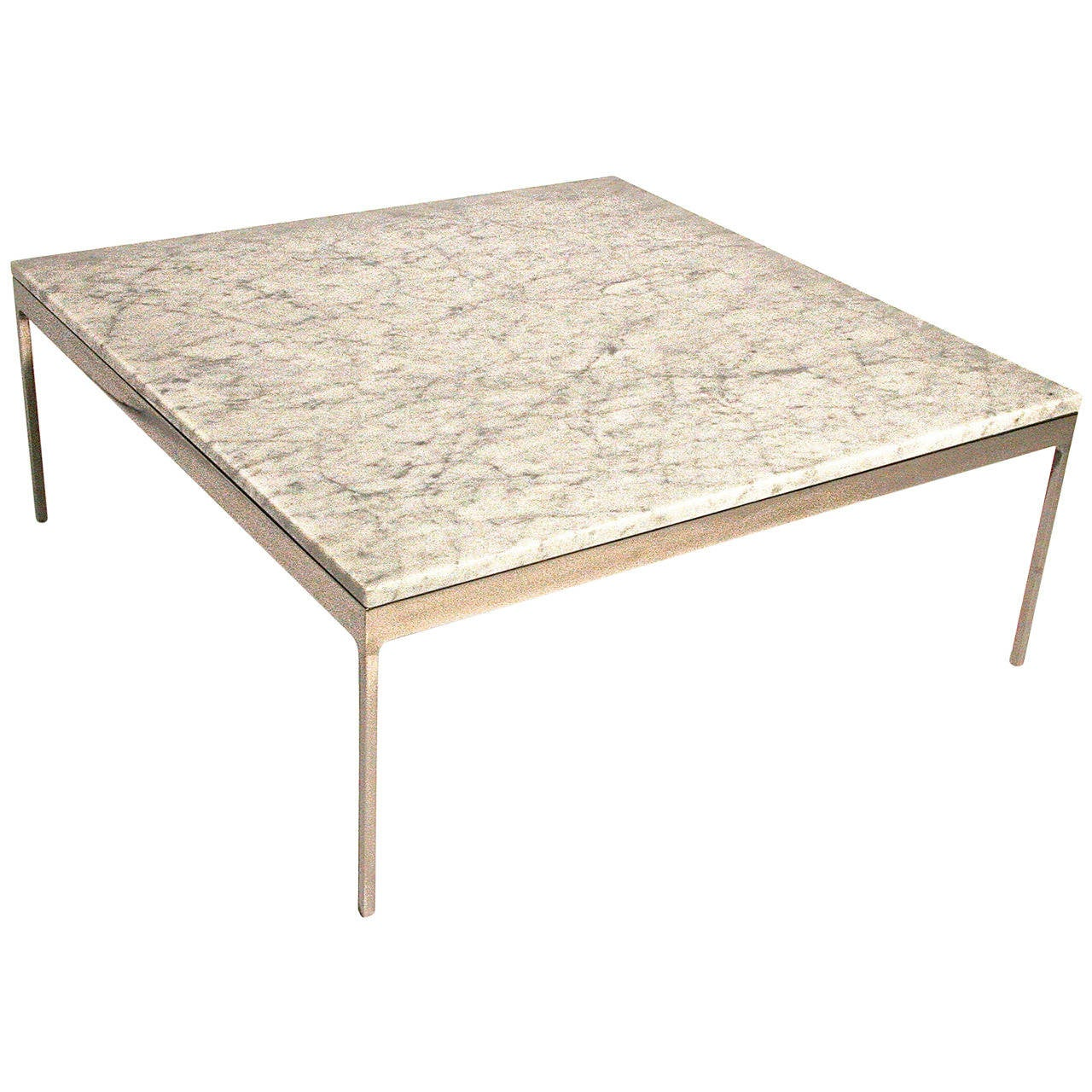 Nicos Zographos Marble And Stainless Steel Coffee Table At 1stdibs