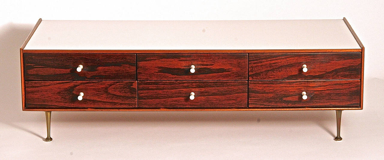 Mid-Century Modern George Nelson Model 5215 Rosewood Jewelry Chest with Miniature Legs, USA, 1955 For Sale