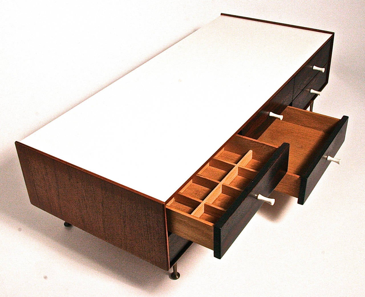 American George Nelson Model 5215 Rosewood Jewelry Chest with Miniature Legs, USA, 1955 For Sale