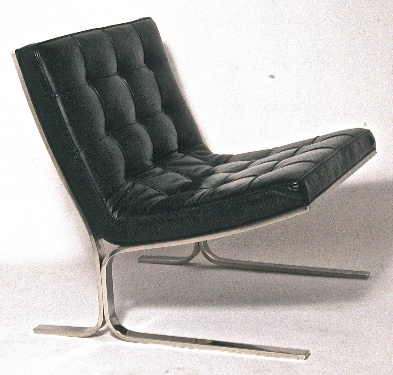 Pair of Nicos Zographos Black Leather Lounge Chairs at 1stdibs