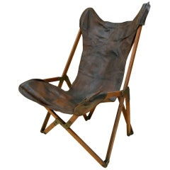 Wonderfully Distressed Leather Campaign Chair