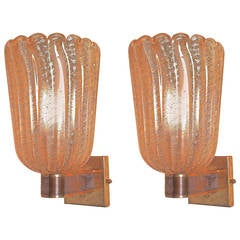 Pair of Handblown Ribbed Murano Glass Sconces with Gold Flecks