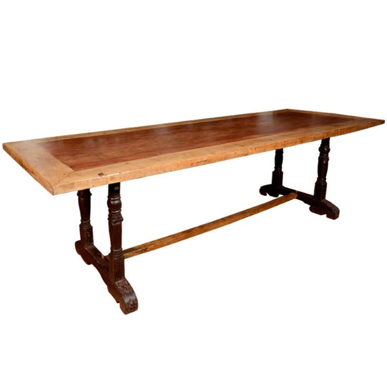 Ironwood Framed Mahogany Dining Table With Rosewood Legs