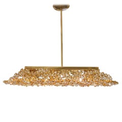 Lobmeyr Brass and Crystal Pendant Flush Mount with Tapered Ends, 1960s