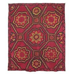 Late 19th Century Antique Geometrical Uzbekistan Suzani Textile