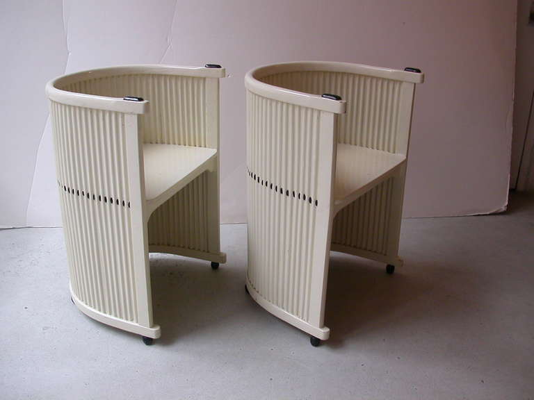 Vienna Secession Hans Gunther Reinstein Pair of White Armchairs Circa 1911 For Sale