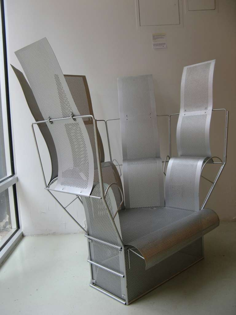 Mid-Century Modern Teruaki Ohashi Oversized Perforated Aluminum Chair For Sale