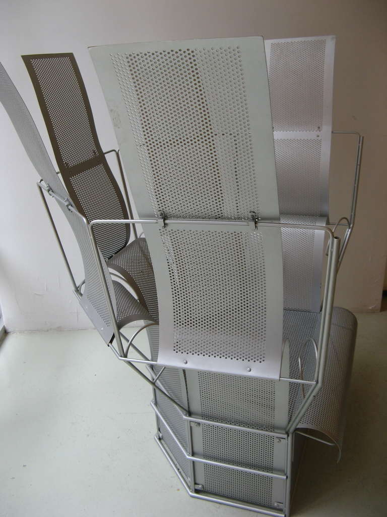 Japanese Teruaki Ohashi Oversized Perforated Aluminum Chair For Sale