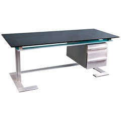 Desk in Brushed Steel Frame with Mahogany Drawers by Raymond Cohen, circa 1970