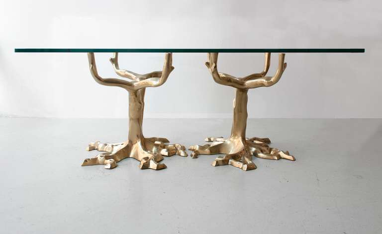 Unique Bronze Tree Coffee Table in the Manner of Fred Brouard, circa 1970 2