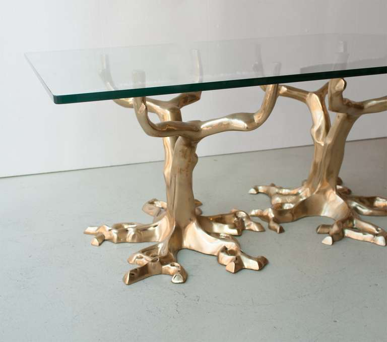 Unique Bronze Tree Coffee Table in the Manner of Fred Brouard, circa 1970 4