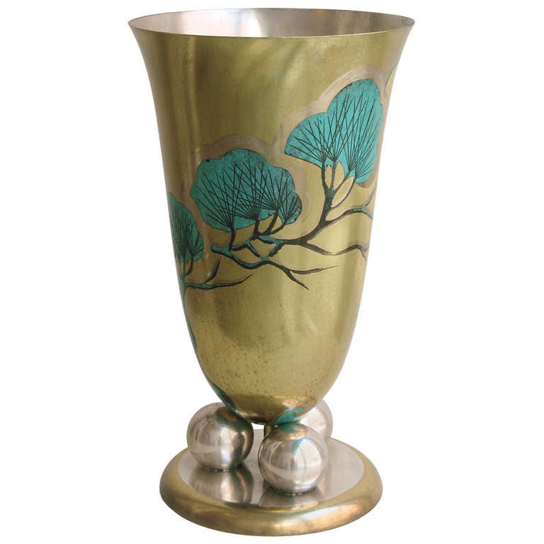 wmf grand scale metal vase with art deco design at 1stdibs. Black Bedroom Furniture Sets. Home Design Ideas