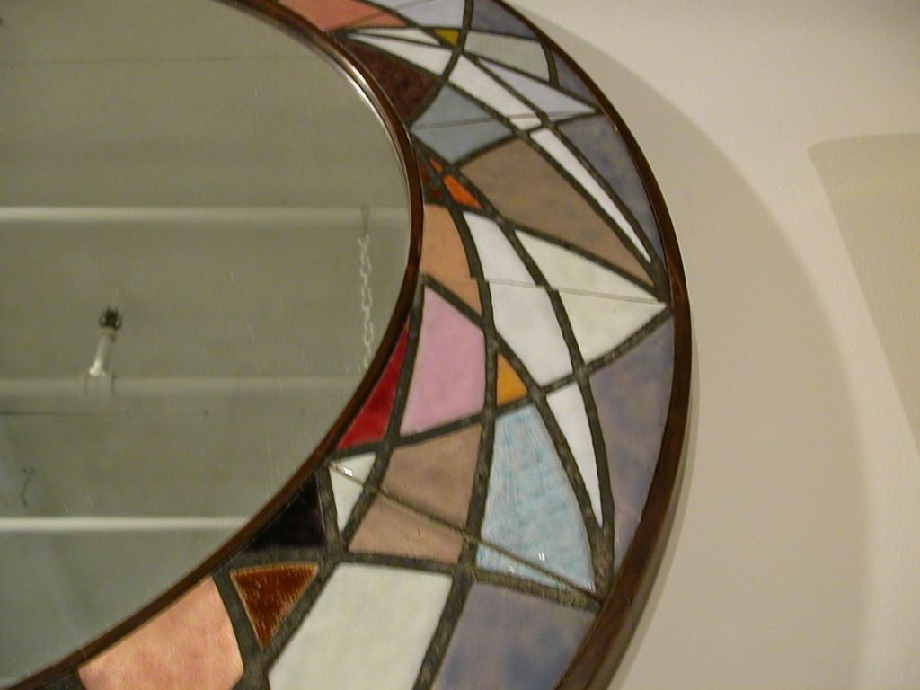 Multi Colored Tile Mirror At 1stdibs