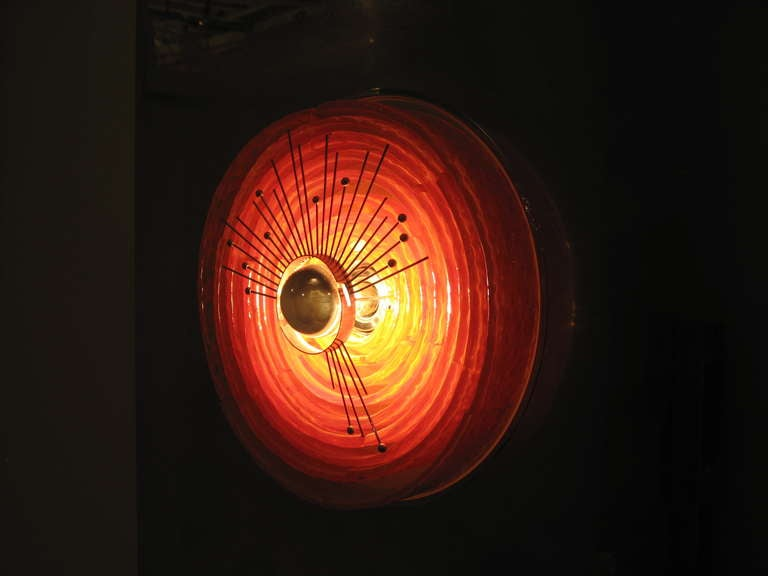 Wall Light Sculpture With Red Glass Circle By Angelo Brotto at 1stdibs