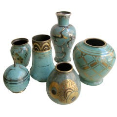 Collection of green WMF vases, c. 1920.