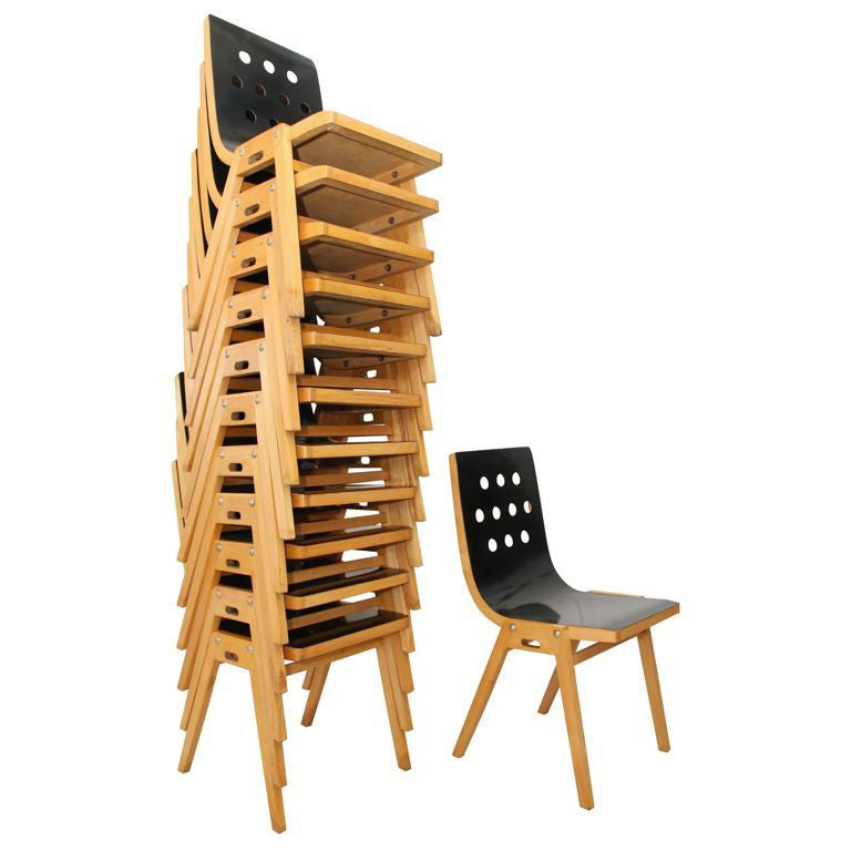 Austrian Beechwood and Bent Plywood Stacking Chairs Roland Rainer, circa 1956 1