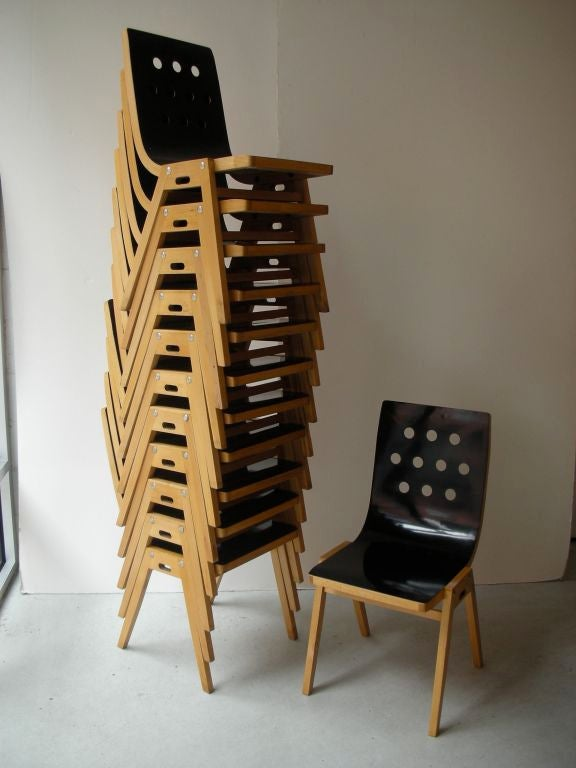 Austrian Beechwood and Bent Plywood Stacking Chairs Roland Rainer, circa 1956 2