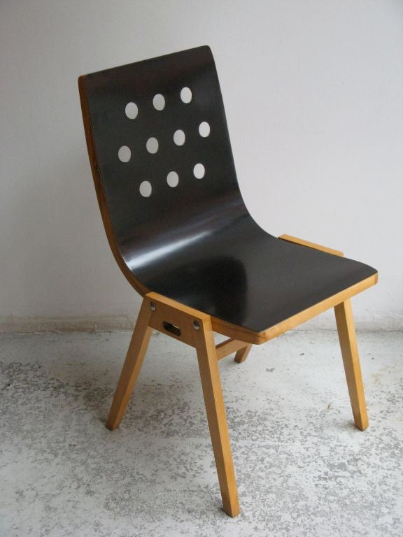 Austrian Beechwood and Bent Plywood Stacking Chairs Roland Rainer, circa 1956 3