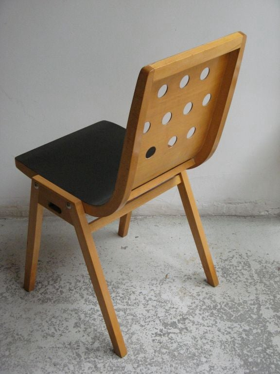 Austrian Beechwood and Bent Plywood Stacking Chairs Roland Rainer, circa 1956 4