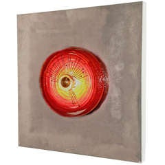 Chrome Wall Light Sculpture with Red Glass Circle by Angelo Brotto, circa 1970
