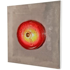 Angelo Brotto Chrome Wall Light Sculpture with Red Glass Circle, circa 1970