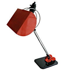 Large Italian Adjustable Desk Lamp in Red and Black Lacquer, circa 1970