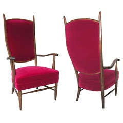 Pair of Italian Grand Scale Armchairs Upholstered in Red Velvet, circa 1950