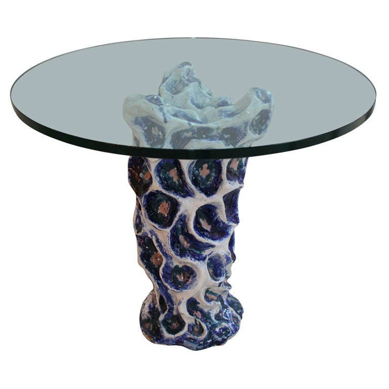 Unique italian ceramic side table by federico quattrini for Unique end tables