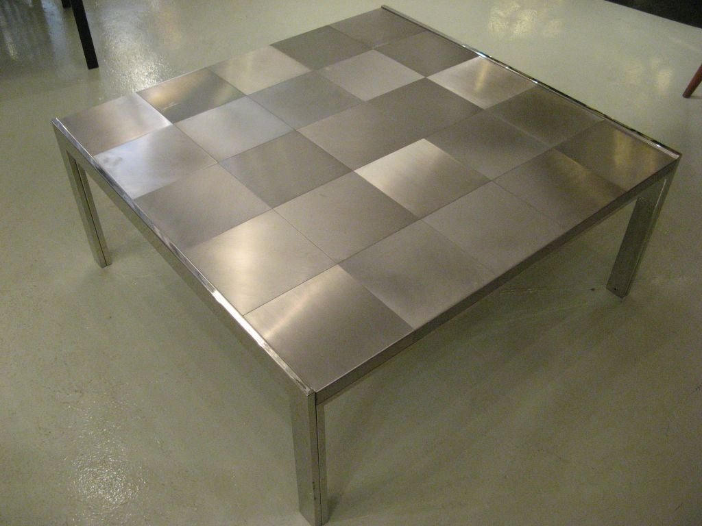Italian Ross Littell Stainless Steel Patchwork Coffee Table For Sale