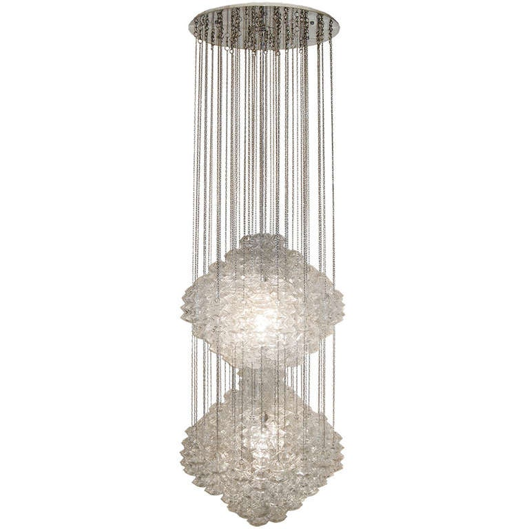 """Large Double Ring Chandelier At 1stdibs: Oversized Double """" Pagode"""" Pendant Chandelier By J. T"""