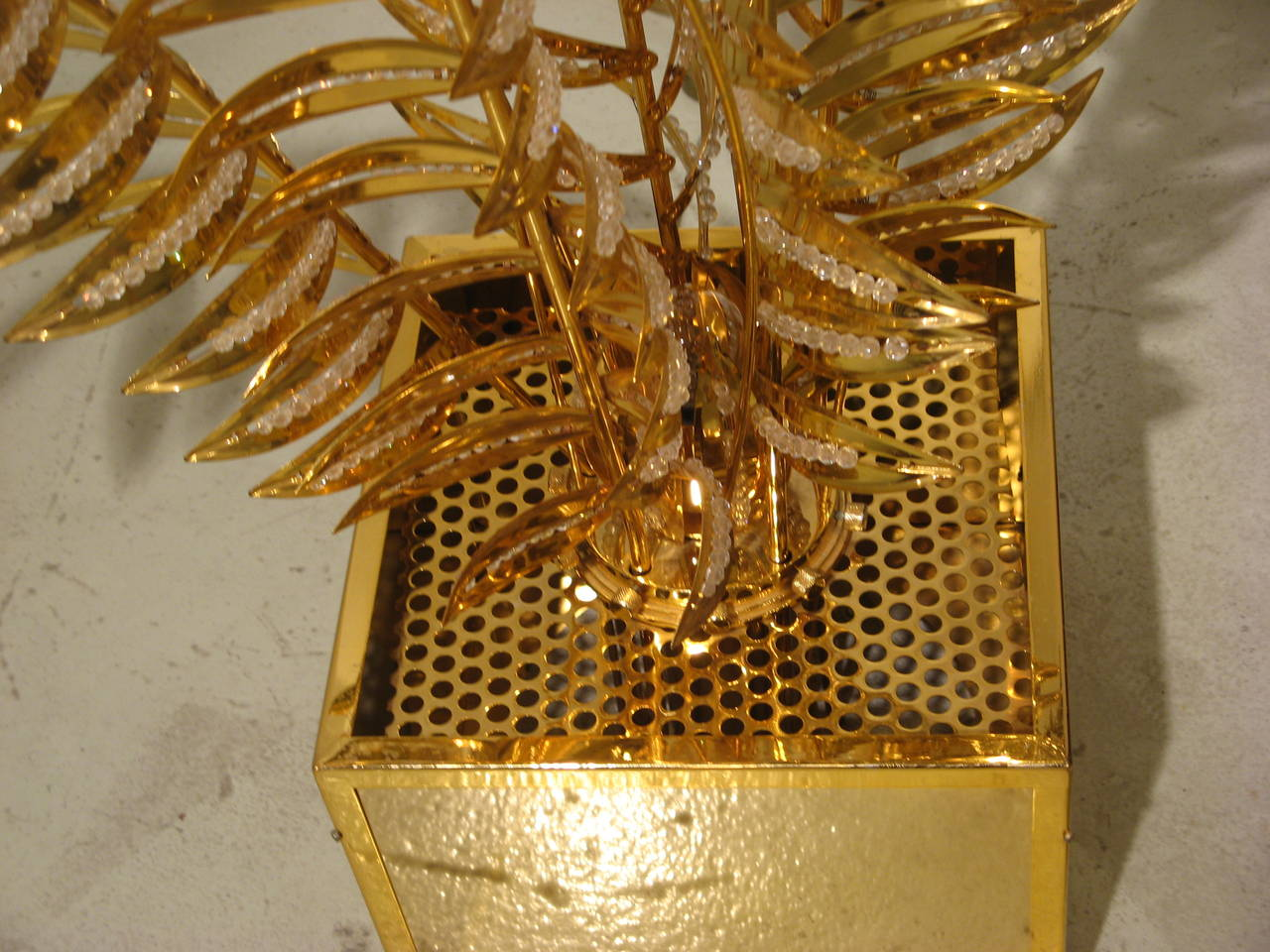 Brass Floor Lamp with Stylized Palm Tree Branches Embellished with Crystals 6