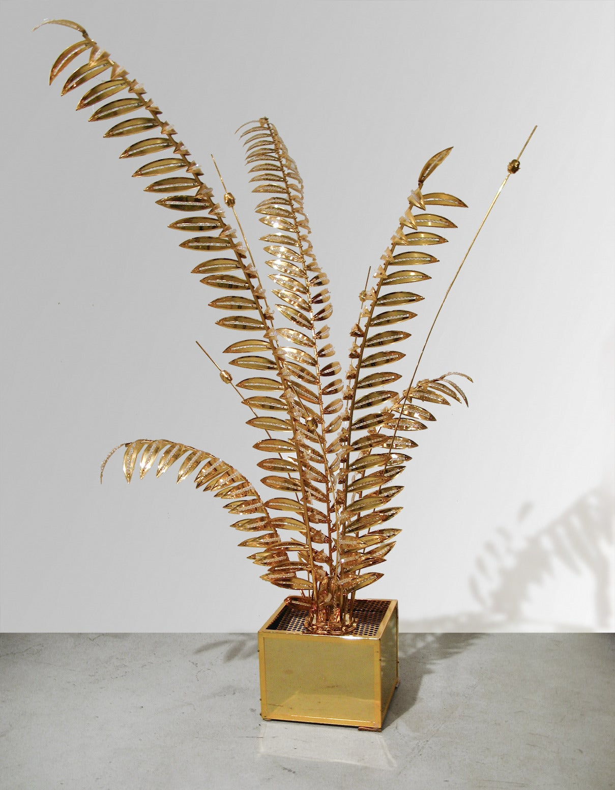 Brass Floor Lamp with Stylized Palm Tree Branches Embellished with Crystals 2