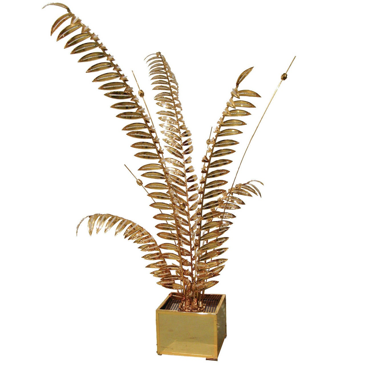 Brass Floor Lamp with Stylized Palm Tree Branches Embellished with Crystals 1