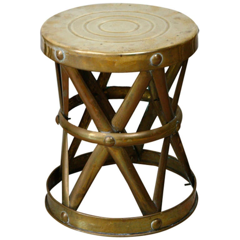 Vintage Brass Drum Stool At 1stdibs